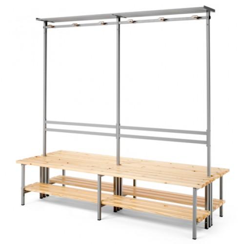 Banco para vestuario listones de madera doble con repisa for Banco zapatero madera